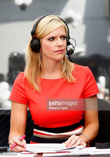 Network onair talent Kathryn Tappen hosts the pregame show before Game One of the 2014 Stanley Cup Final at Staples Center on June 4 2014 in Los...