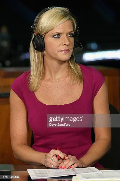 Network onair talent Kathryn Tappen hosts the pregame show before Game Two of the 2015 NHL Stanley Cup Final between the Chicago Blackhawks and the...