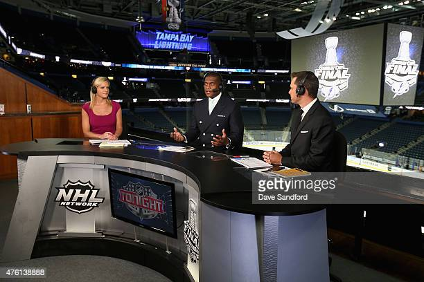 NHL Network onair talent Kathryn Tappen Kevin Weekes and Martin Biron discuss Game Two of the 2015 NHL Stanley Cup Final between the Chicago...