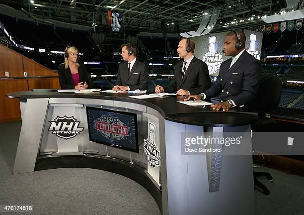 NHL Network onair talent Kathryn Tappen Martin Biron Mike Rupp and Kevin Weekes sit on the panel after Game Two of the 2015 NHL Stanley Cup Final...