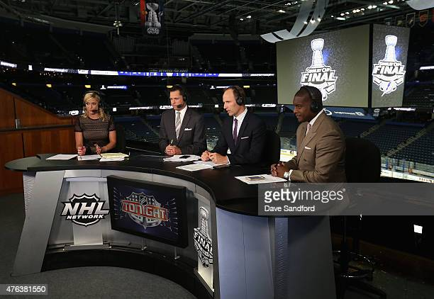 NHL Network onair talent Kathryn Tappen Martin Biron Mike Rupp and Kevin Weekes discuss Game One of the 2015 NHL Stanley Cup Final between the Tampa...