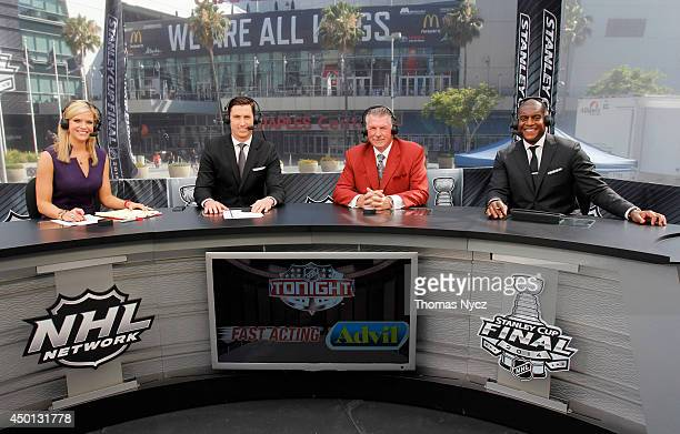 NHL Network onair talent Kathryn Tappen Mike Johnson Barry Melrose and Kevin Weekes host NHL Tonight during the 2014 Stanley Cup Final at Staples...