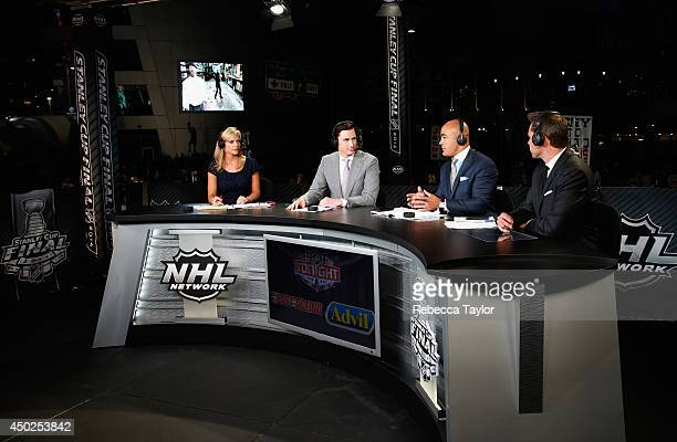 NHL Network onair talent Kathryn Tappen Mike Johnson Jamal Mayers and Marty Biron host the postgame show after Game Two of the 2014 Stanley Cup Final...