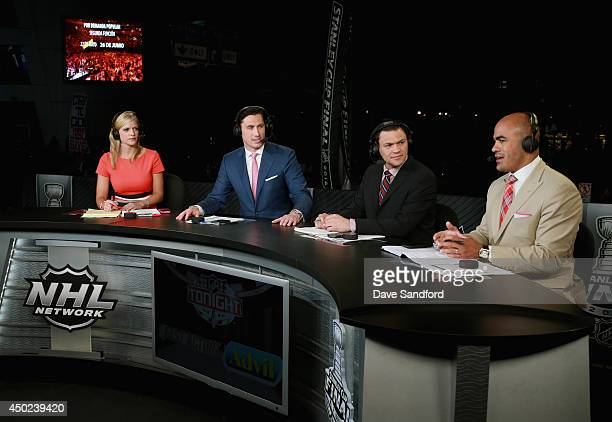 NHL Network onair talent Kathryn Tappen Mike Johnson Jamie McLennan and Jamal Mayers host the pregame show before Game One of the 2014 Stanley Cup...