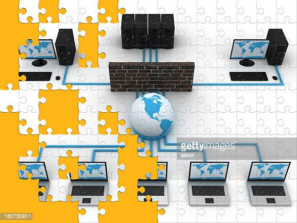 network puzzle - computer system diagram stock photos and pictures