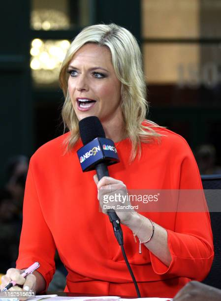 Network reporter Kathryn Tappen speaks on the air before Game Two of the 2019 NHL Stanley Cup Final between the St. Louis Blues and Boston Bruins at...