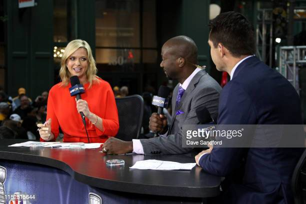 Network reporter Kathryn Tappen speaks on the air before Game Two of the 2019 NHL Stanley Cup Final between the St Louis Blues and Boston Bruins at...