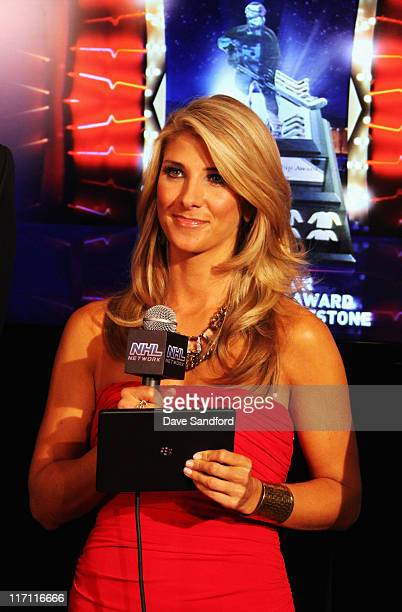 Network reporter Michelle Beisner looks on during the 2011 NHL Awards at The Pearl concert theater at the Palms Casino Resort June 22 2011 in Las...