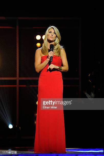 Network reporter Michelle Beisner speaks during the 2011 NHL Awards at The Pearl concert theater at the Palms Casino Resort June 22 2011 in Las Vegas...