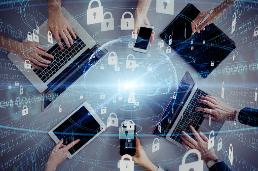 Network security concept. Cyber protection. Anti virus software. 1169668297