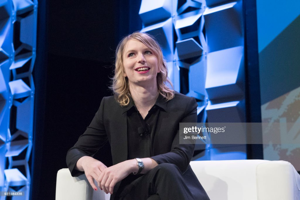 Network security expert Chelsea Manning talks onstage during the SXSW Interactive session 'Free Radical: Chelsea Manning with Vogue's Sally Singer' on March 13, 2018 in Austin, Texas.