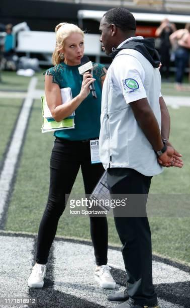 Network sideline reporter Dawn Davenport interviews Vanderbilt Commodores head coach Derek Mason following a game between the Vanderbilt Commodores...