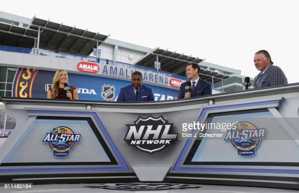 NHL Network sportscasters Jamie Hersch Kevin Weekes Mike Johnson and Barry Melrose comment during the PreGame Mascot Showdown at Amalie Arena on...