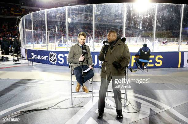 Network sportscasters Jamison Coyle and Kevin Weekes provide commentary rinkside during warmup of the 2018 Coors Light NHL Stadium Series game...