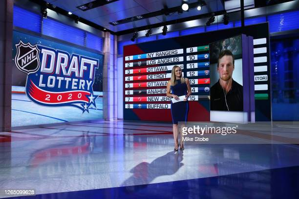 Network studio host Jamie Hersch interviews top prospect Alexis Lafreniere during Phase 2 of the 2020 NHL Draft Lottery on August 10, 2020 at the NHL...