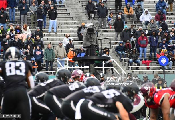 Network television cameras cover the Alliance of American Football game between the San Antonio Commanders and the Birmingham Iron at Legion Field on...