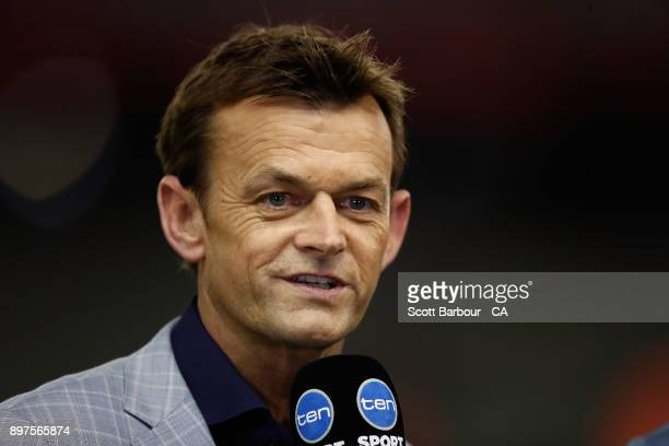Network Ten commentator Adam Gilchrist looks on during the Big Bash League match between the Melbourne Renegades and the Brisbane Heat at Etihad...