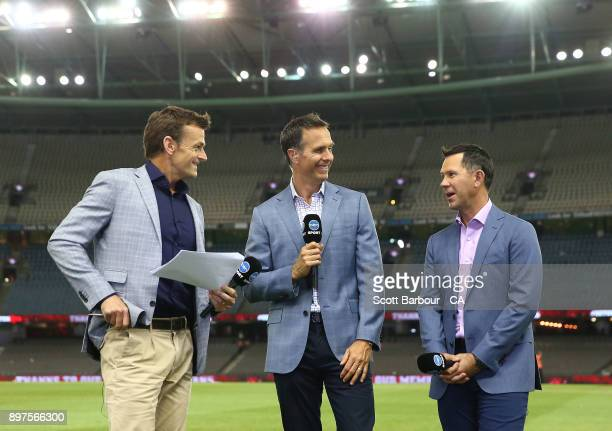 Network Ten commentators Adam Gilchrist Michael Vaughan and Ricky Ponting look on during the Big Bash League match between the Melbourne Renegades...