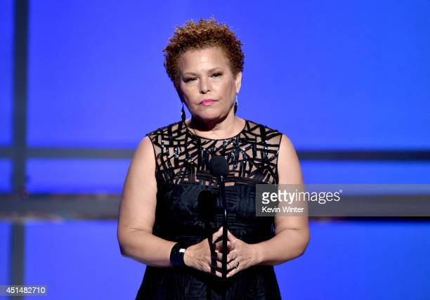 Networks Chairman CEO Debra L Lee speaks onstage during the BET AWARDS '14 at Nokia Theatre LA LIVE on June 29 2014 in Los Angeles California