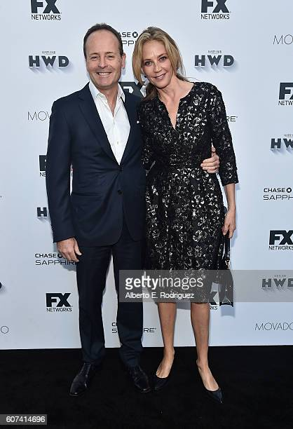 Networks John Ladgraf and actress Ally Walker attend the Vanity and FX Annual Primetime Emmy Nominations Party at Craft Restaurant on September 17...