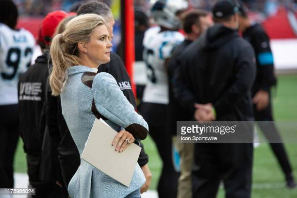 Network's Melissa Stark stands on the sidelines during the game between the Carolina Panthers and the Tampa Bay Buccaneers on October 13th 2019 at...
