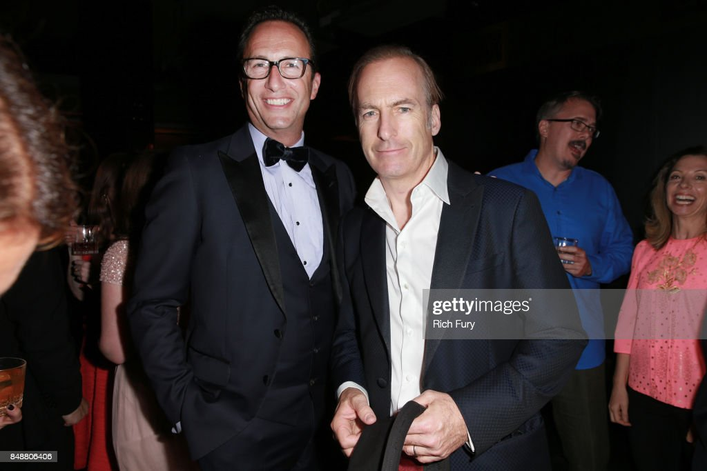 Networks President & General Manager Charlie Collier and Bob Odenkirk attend the AMC Networks 69th Primetime Emmy Awards After-Party Celebration at BOA Steakhouse on September 17, 2017 in West Hollywood, California.