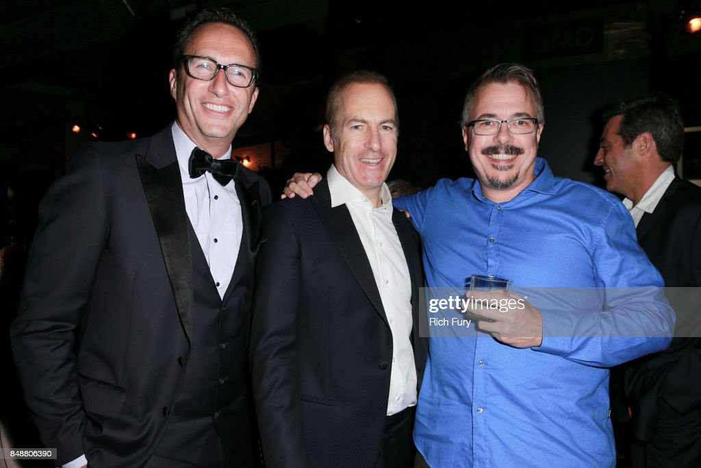 AMC Networks President & General Manager Charlie Collier, Bob Odenkirk and Vince Gilligan attend the AMC Networks 69th Primetime Emmy Awards After-Party Celebration at BOA Steakhouse on September 17, 2017 in West Hollywood, California.