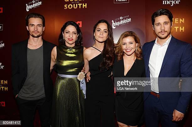 """Network's """"Queen of the South"""" World Premiere at Hispanicize in Miami -- Pictured: Jon Ecker, Veronica Falcon, Alice Braga, Justina Machado, Peter..."""
