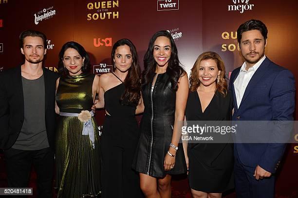 """Network's """"Queen of the South"""" World Premiere at Hispanicize in Miami -- Pictured: Jon Ecker, Veronica Falcon, Alice Braga, Nina Terrero, Justina..."""