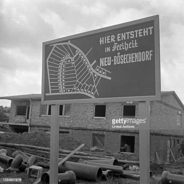 Neu-Böseckendorf, Fernsehfilm, Deutschland 1969, Regie: Robert A Stemmle, Baustellenschild.