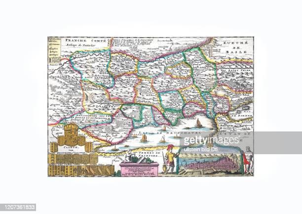 Neuchatel 1747, mit einem Stadtplan, von Daniel de la Feuille, Amsterdam 1747 2:2