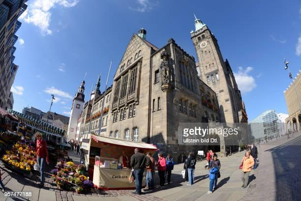 Neues Rathaus Markt Chemnitz Sachsen Deutschland