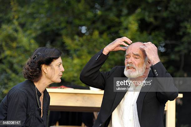 """Neuhardenberg Castle Openair theatre play And a Light Shines in Darkness"""" Leo Tolstoy as staged by Volker Schlöndorff actors Angelika Winkler..."""