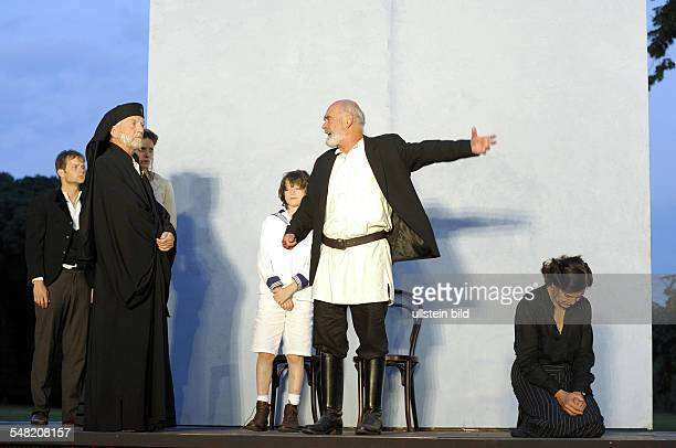 """Neuhardenberg Castle Openair theatre play And a Light Shines in Darkness"""" Leo Tolstoy as staged by Volker Schlöndorff actors Julian Bisesi Willem..."""