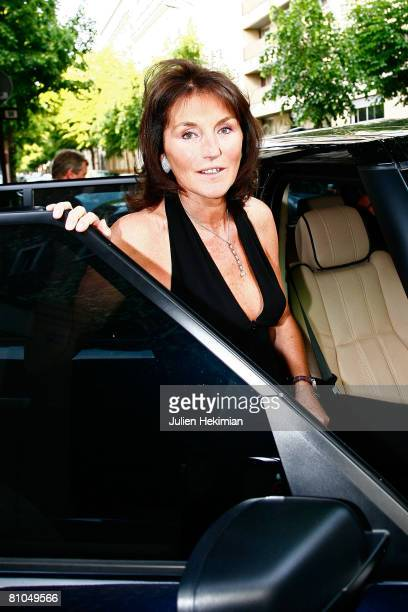 Cecilia Attias leaves the Richard Attias house to go to her daughter JeanneMarie's wedding party at the Pre Catelan in Paris 7th on May 10 2008 in...