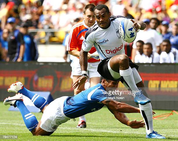 Neumi Nanuku of Fiji in action during the Cup Quaterfinal match between the Fiji and Samoa in the New Zealand International Sevens at Westpac Stadium...