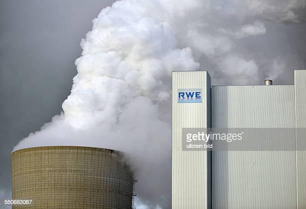 Neurath the logo RWE on the new power plant Neurath II of RWE AG