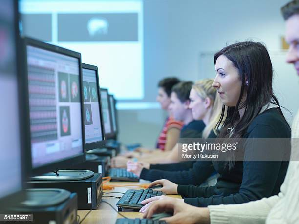 Neuroimaging students at workstations