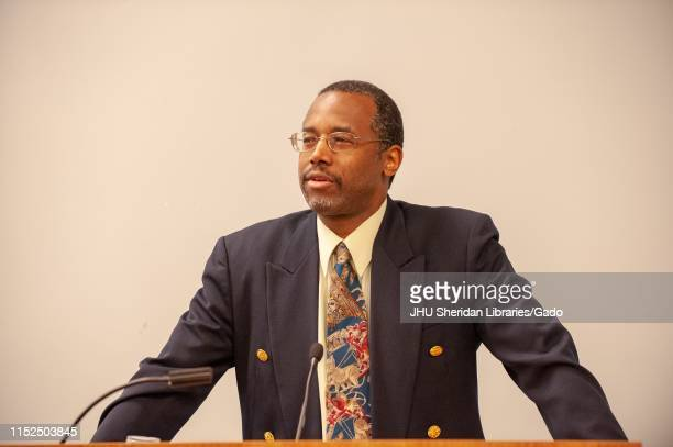 Neurosurgeon and politician Ben Carson speaking from a podium during the Minority PreHealth Conference at the Johns Hopkins University Baltimore...