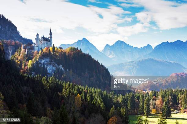 Neuschwanstein and Hohenschwangau castle with alps in nice autum light and colors (Bavaria/ Germany)