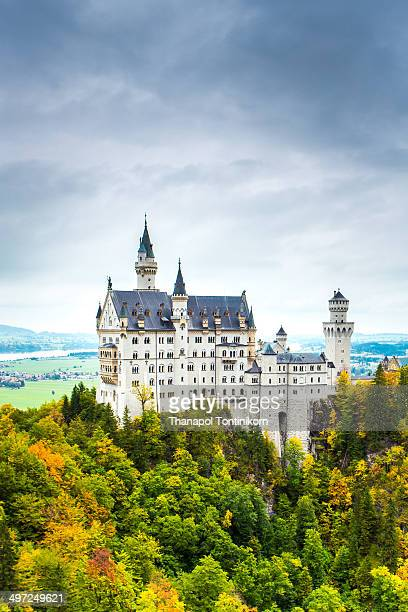 Neuschwanstein castle, 19th Century Romanesque revival palace of Ludwig II of Bavaria in the Bavarian Alps.
