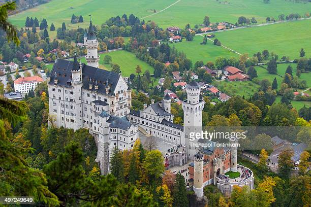 Neuschwanstein castle, 19th Century Romanesque revival palace of Ludwig II of Bavaria in the Bavarian Alps, Fussen, Germany.