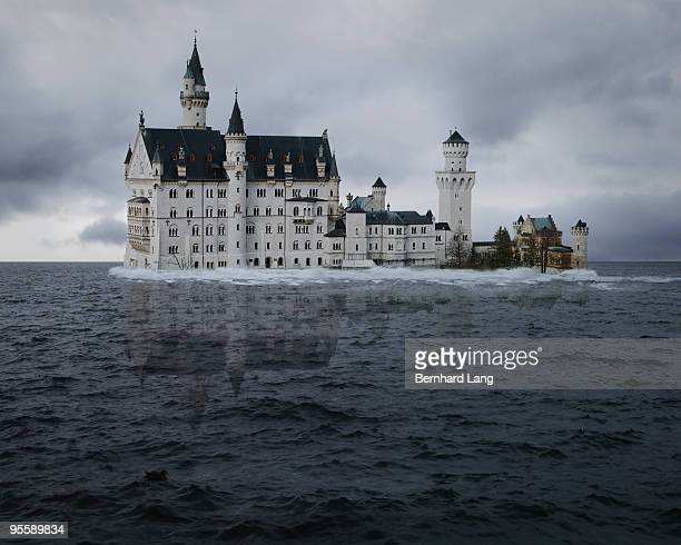 Neuschwanstein Castle submerged in water