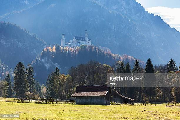 Neuschwanstein castle with alps and a hut in the foreground (Allgäu/ Bavaria/ Germany
