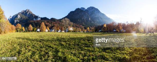 Neuschwanstein castle with alps in nice autum light and colors