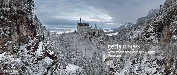 Neuschwanstein Castle with snow