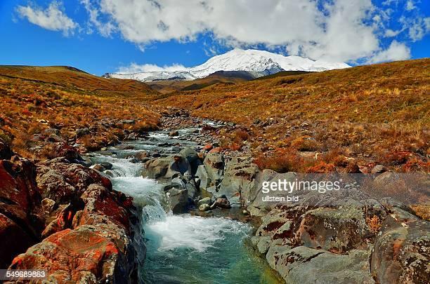 Neuseeland schneebedeckte Vulkane im Tongariro Nationalpark Der Nationalpark mit seinen aktiven Vulkanen ist der vierte Nationalpark der Welt und...