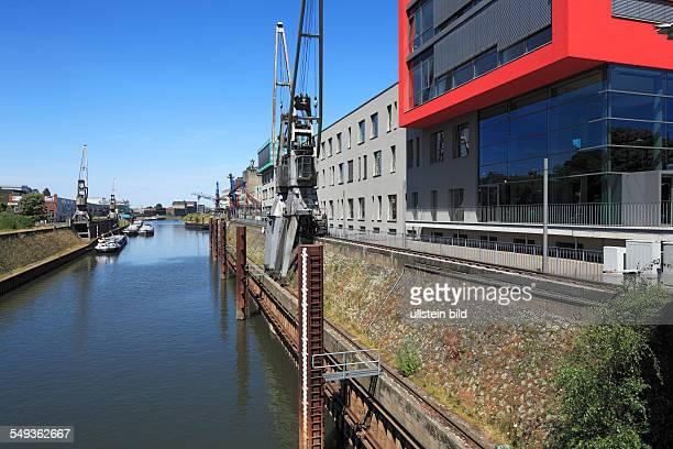 Neuss, Rhine harbour, industrial port, port cranes, cargo ships, customs port, House am Pegel, office centre