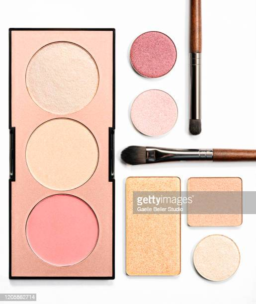 neutral eyeshadows, highlighters, blush, and make-up brush - eyeshadow stock pictures, royalty-free photos & images