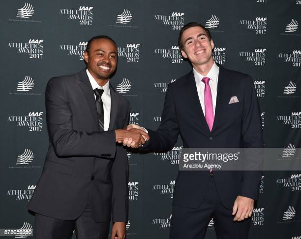 Neutral track and field athlete Sergey Shubenkov and American athlete Aries Merritt pose as they arrive the IAAF Athletics Awards 2017 ceremony in...